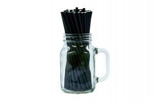 "8"" Black Paper Straw - 6mm-0"