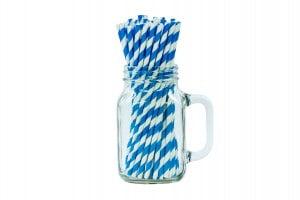 "8"" Malibu Blue & White Paper Straw - 6mm-0"