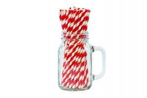 "8"" Red & White Paper Straw - 6mm-0"